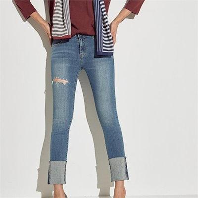 メグジェイMAGJAY行き来するようにメグジェイロールアップダメージのジーン・J92PPT008 パンツ/デンパンツ/韓国ファッション