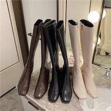 秋冬定番 ロングブーツ ブーツ レディース レトロ スクエアトゥ 太めヒール ブーツ 歩きやすい
