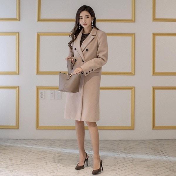 クラインストレート、ロングコートベージュnew 女性のコート/ 韓国ファッション/ジャケット/秋冬/レディース/ハーフ/ロング/