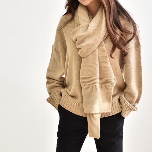 [送料無料]★4COLOR★マフラーSET Vネックニット(knit448)/韓国ファッション/ニットとマフラーSET/体型カバールーズフィット