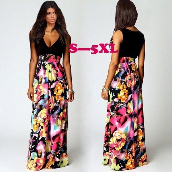 花のパッチワークVネックビーチロングドレス