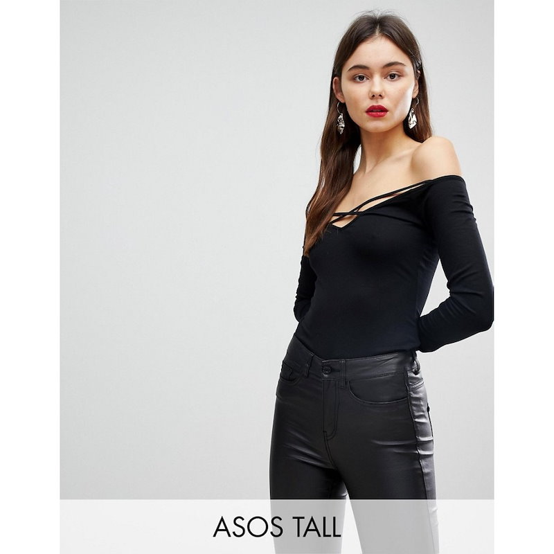エイソス レディース トップス オフショルダー【ASOS TALL Off Shoulder Top with Caging Detail and Long Sleeves】Black