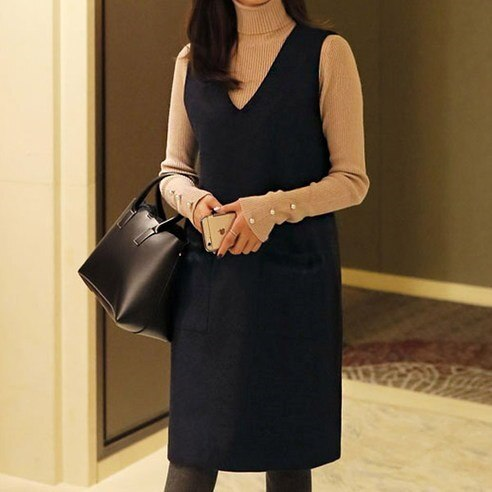[ClicknFunny] Trimming Mink Wool Dress OP4346 Midi Dress (knee length) Korean fashion style