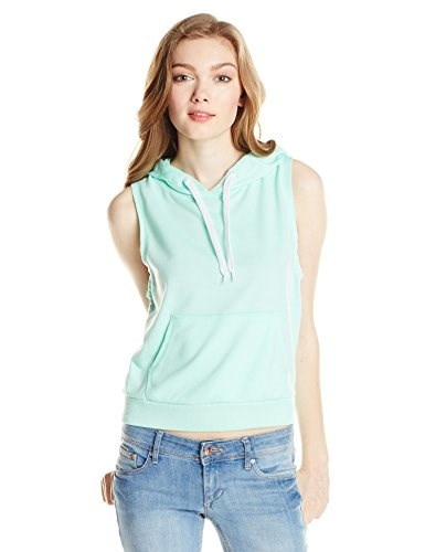 Southpole Juniors Sleeveless French Terry Pullover Hoodie, Spearmint, Large