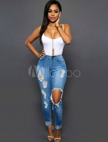 Light Blue Cut-Out Trendy Cotton Jeans for Women