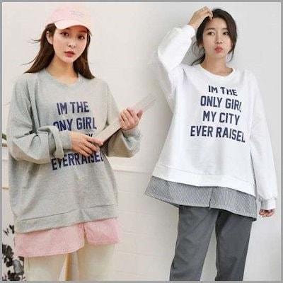 [ウィスィモール][ウィスィモール]JMジュルジ南方配色マンツーマン(4486H902) /ティーシャツ / ソリッド/無知ティーシャツ / 韓国ファッション