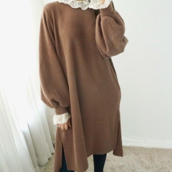 ロロテンポーリングレースのワンピース ニット・ワンピース/ 韓国ファッション
