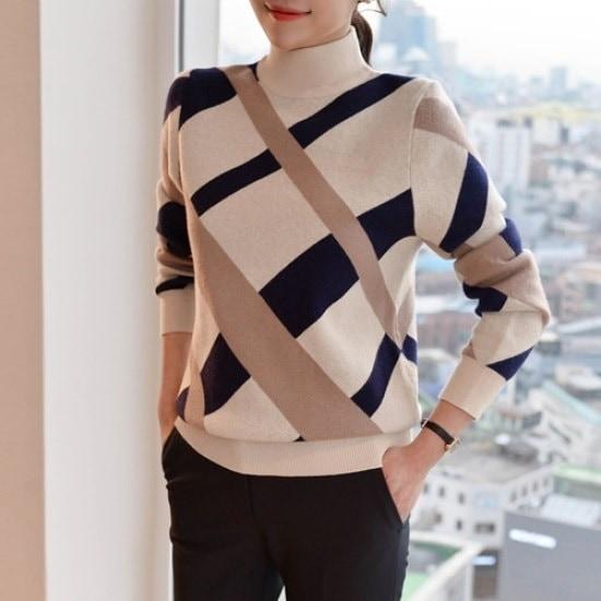 悪女日記】死線チェックニート3col ニット/セーター/タートルネック/ポーラーニット/韓国ファッション