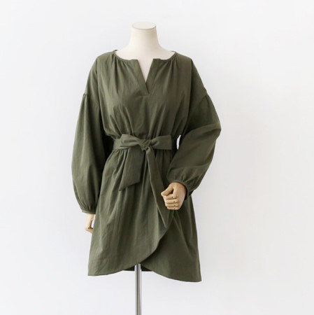 腰バンディングリボンストラップパース小売フレアワンピース30569デイリールックkorea women fashion style