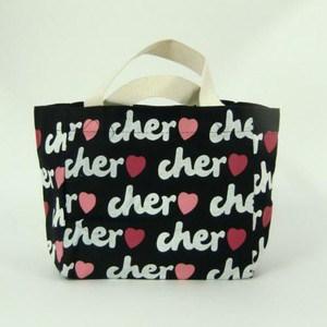 Cher(シェル) トートバック エコバッグ 【ブラック/ホワイト】Sサイズ