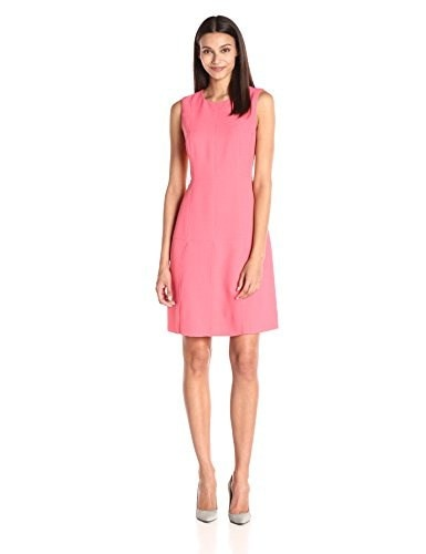Tommy Hilfiger Womens Crepe Sleeveless Dress, Coral, 10