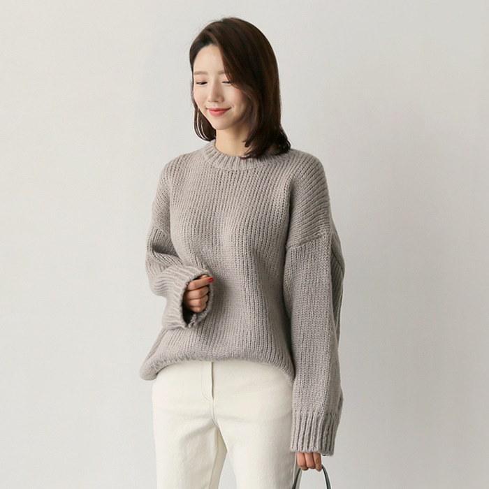 バルーンハチknit(2color)【ラウンドネックニット/ルーズフィットニット/ワイド袖カットソー】/韓国ファッション