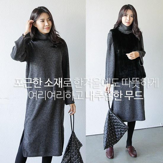 [さんエラ]ヴィッキー段ボールロングポーラニットワンピース ニット・ワンピース/ 韓国ファッション