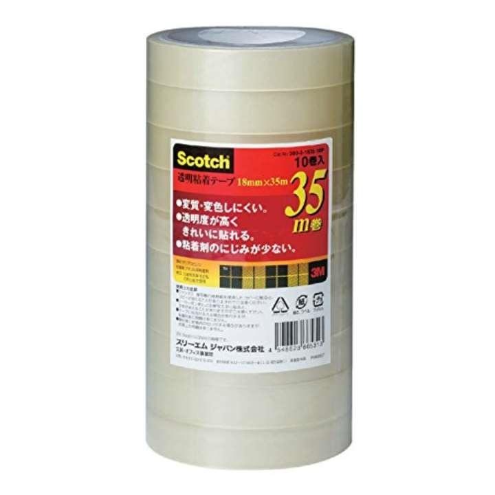 スコッチ セロハンテープ 透明粘着テープ 10巻 18mm×35m 芯76mm 500-3-1835-10P[22906050](透明 幅18mmx35m巻)