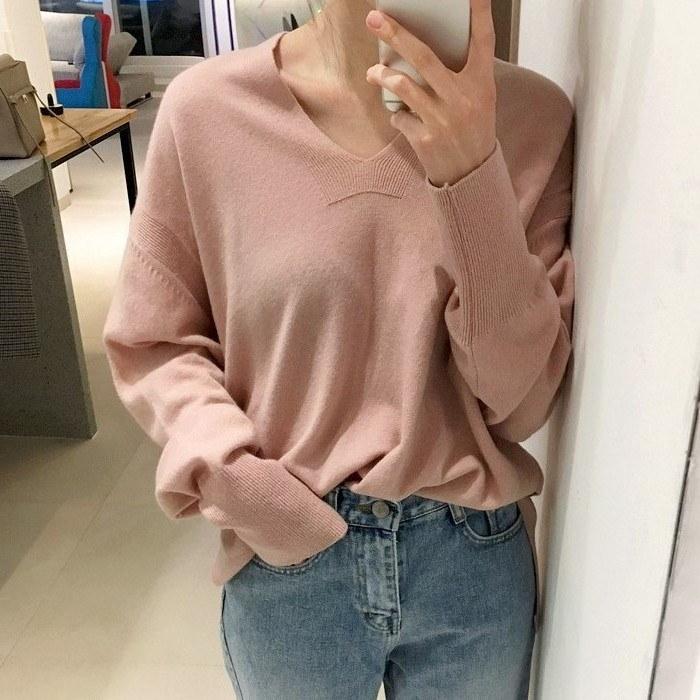 ハモンひもknit(4color)【ハモンひもニット/ Vネックニット/オンバルニット/ルーズフィットニット]/韓国ファッション