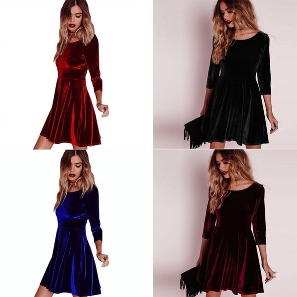 Women Long Sleeve Velvet Ruffle Skater Evening Party Pleated Short Mini Dress