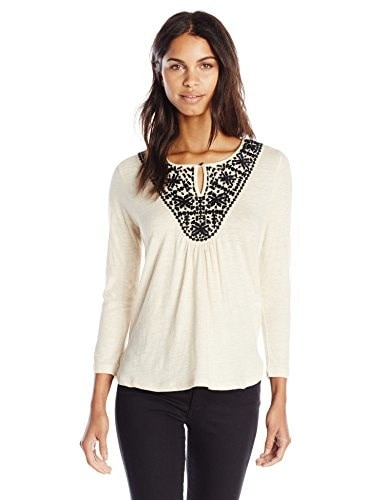 Lucky Brand Womens Stitched Bib Top, Oatmeal, Large