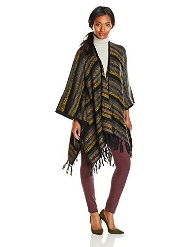 Kensie Womens Tissue Knit Blanket Cardigan, Black Combo, One Size