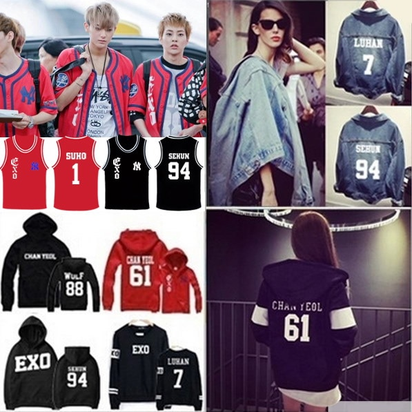 EXO SBS 歌謡対戦 トレーナー /野球 JUMPER/EXO パーカー/ EXO トレーナー /OFF WHITE EXO/EXO/exo 服/XOXO/KISS HUG/GROWL/
