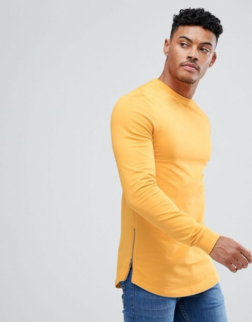 ASOS Muscle Longline Sweatshirt With Side Zips & Curved Hem In Yellow