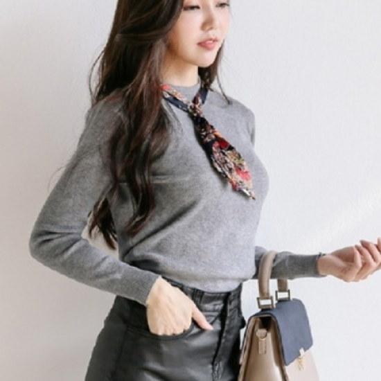 三女子モールラウンドスカーフニットJJ00593 ニット/セーター/タートルネック/ポーラーニット/韓国ファッション