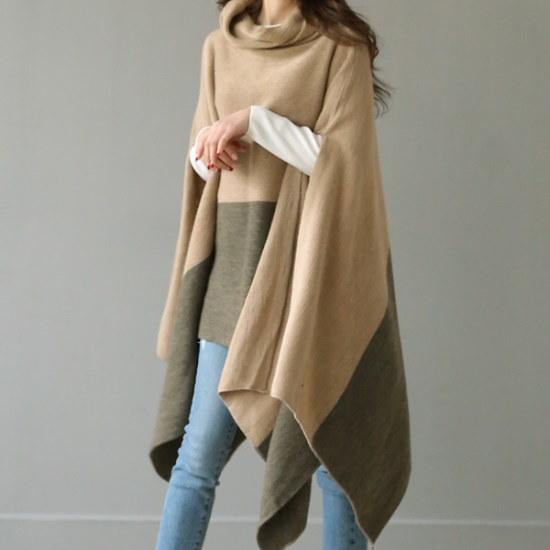 ビナインレイヴンショールパンチョ ニット/セーター/タートルネック/ポーラーニット/韓国ファッション