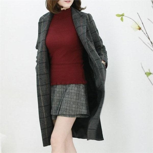 クイーンズチェック、ロングコートLCT002 new 女性のコート/ 韓国ファッション/ジャケット/秋冬/レディース/ハーフ/ロング/