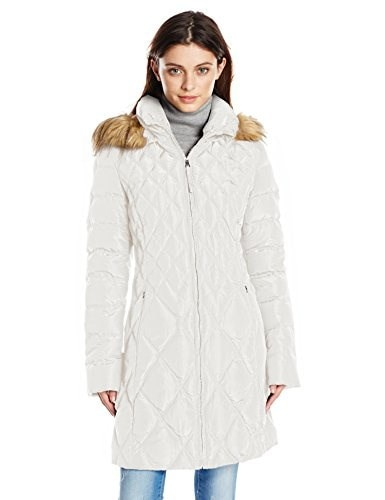 Jessica Simpson Womens Mid-Length Diamond Quilted Down Coat with Faux Fur Trim, Ivory, Small