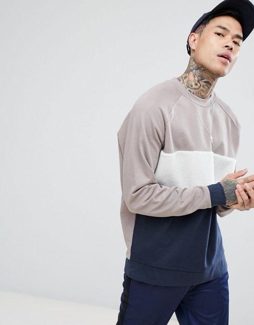 ASOS Oversized Sweatshirt With Borg Panelling