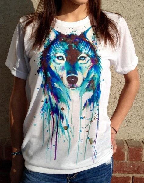 女性ウルフプリントTシャツ夏の半袖トップスブラウスルーズティープルオーバー