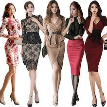 2019春更新.高品質/韓国ファッション/ワンピース/アイテム/タイドブランド/正式な場合、礼装ドレス♥セクシーなワンピース、一字肩♥二点セット、側開、深いVネック♥やせて見える、ハイウエス