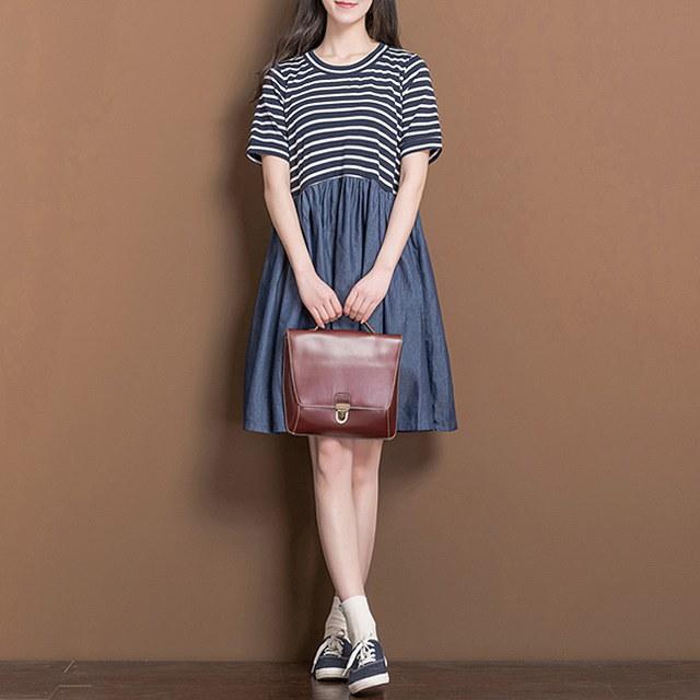ストライプデニムワンピースきちんとしてすっきりとしたデイリーワンピースkorea fashion style