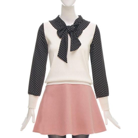 フォーカス・ドットリボン配色ニートCFGW1KT5271 ニット/セーター/韓国ファッション