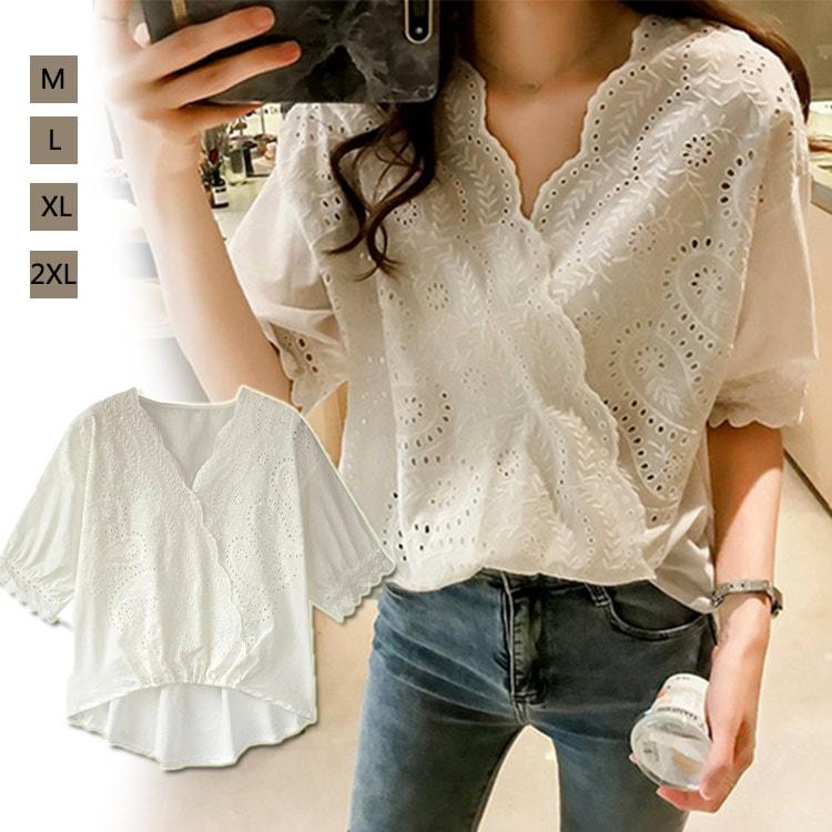 94beb8322ad00 Tシャツツ ブラウス 半袖 レースレースレディース フリル ホワイト イズ スタンドカラー かわいい 韓国ファッションの