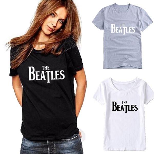 ビートルズレタープリントTシャツレディース半袖OネックグラフィックTシャツトップス夏のカジュアルTsh