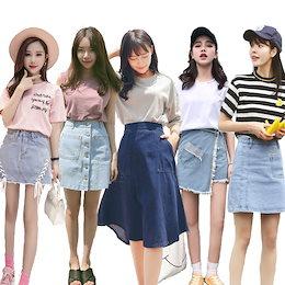 韓国ファッション 高品質 デニム スカート プリーツスカート テニススカートチアガール Aライン春夏  体育祭 ミニスカートハイウエスト パンツ付き 膝上丈ダンス レディースファッション