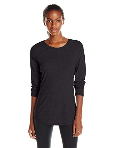 Hanes Womens Long Sleeve Tee, Ebony, Large