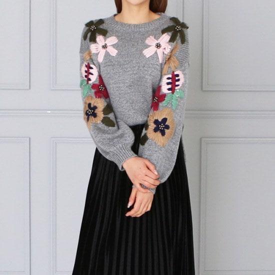 オーサムジェイムフラワーラウンドネックニット233690 ニット/セーター/ニット/韓国ファッション