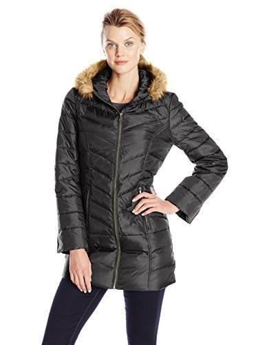 Hawke & Co. Womens Mid Length Down Coat with Faux Fur Trim, Black, Medium