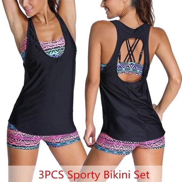 3pcs / lot女性の部族プリントTankini半袖ビキニセットビーチスポーティーな水着スイムウェア