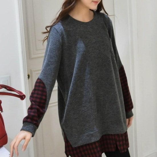 妊婦服・ドット・コム小売チェックの冬、ミッシー・ニットシャツ ニット/セーター/ニット/韓国ファッション