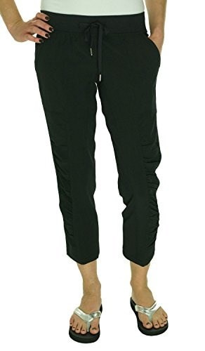 Ideology Womens Ruched Cropped Pants (Medium, Black)