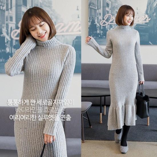 [さんエラ]インパクトフリルポーラネックニットワンピース ニット・ワンピース/ 韓国ファッション