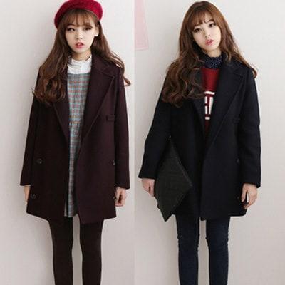 冬服韓版学院風修身でロングコート女学生として、ラシャ甘いゆったりツイードジャケット