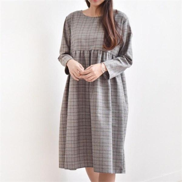 プチルーズフィットチェックやフリルミディワンピースops868new フレアワンピース/ワンピース/韓国ファッション