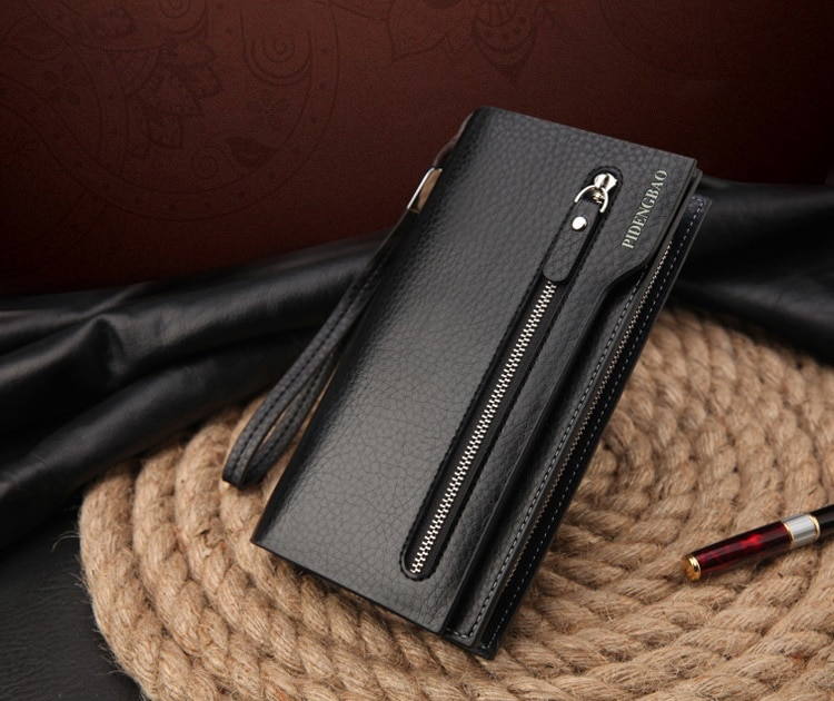 携帯収納可能 PUレザーメンズ長財布「財布 長財布 メンズ 革 レザー 皮 サイフ 長サイフ メンズ財布 カードケース」