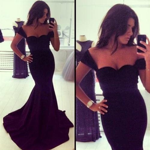 ロングイブニングドレス新しい到着フォーマルドレス恋人ノースリーブ黒マーメイドイブニングドレス