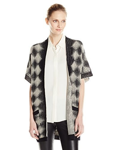 Parkhurst Womens Scarlett Textured Graphic Sweater Vest, Black/Natural, Large