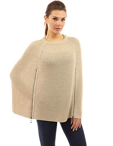PattyBoutik Womens Zip Open Stitch Knit Cape Poncho (Beige L)