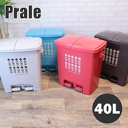 これ一つで最大4分別! 新登場 ツイン ペダルペール ゴミ箱 40L Prale:プラーレ 約幅48×奥行35×高さ51cm ごみ箱 ふた付き ダストボックス 蓋 フタ 付き プラスチック製 くずかご 日本製